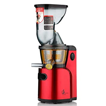 JHKDQ Extractor de jugos para exprimidor de jugos eléctricos de Boca Ancha 75MM de Boca Ancha para Verduras de cítricos de Frutas Enteras (Color : Rojo): ...