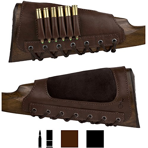 BronzeDog Leather Cartidge Buttstock Shotgun Shell Holder, Hunting Buttstock Ammo Holder Pouch Bag for Rifles, Shotgun Shell Pouch Shell Holder Stock (Glossy Brown)