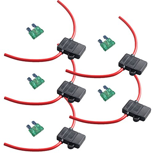 ESUPPORT 12 Gauge ATC Fuse Holder Box in-Line AWG Wire Copper 12V 30A Blade Standard Plug Socket Pack of 5 (10 Single Awg)