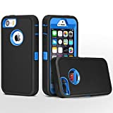 FOGEEK iPhone 5 Case, Heavy Duty PC + TPU Combo Protective Body Armor Case for iPhone 5 & iPhone 5S (not Support Fingerprint Function)(Black/Dark Blue)