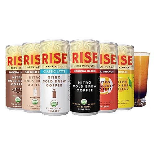 - RISE Brewing Co. | Nitro Cold Brew Coffee (12 7 fl. oz. Cans [2x Original Black, Blood Orange, Lemonade, Oat Milk, Classic Latte and Mocha]) - Organic, Non-GMO Ingredients | Clean Energy & Low Acidity