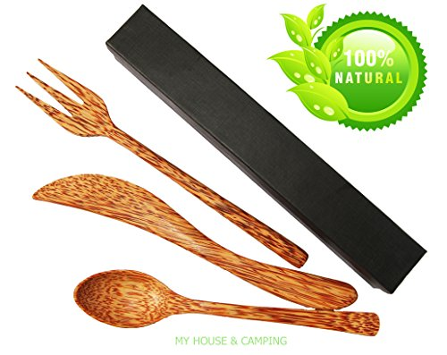 Tableware set made 100% Coconut Wooden nature handmade. Flatware set including Wooden spoon, wooden knife, wooden fork eco friendly, reusable.Using wo…