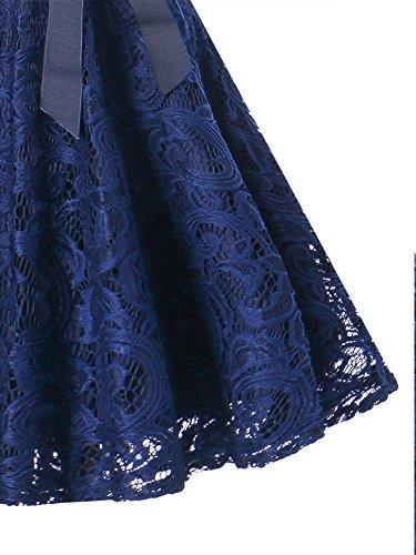 Vestiti Corte Line Alta Senza da a SUPPLY Cocktail A KT Sera Pizzo Scollo Donna Abito Maniche Cerimonia Eleganti V Blu Merletto Dress Vita Corta xCfwEpqP