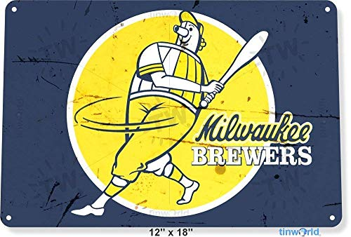 WDRN Metal tin Sign 7.8inch11.8inches TIN Sign Milwaukee Brewers Retro Metal Decor Miller Park Store Card Shop A911