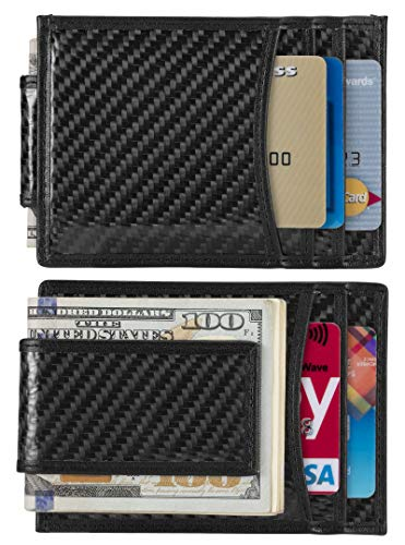 Money Clip, Front Pocket Wallet, Leather RFID Blocking Strong Magnet thin ()