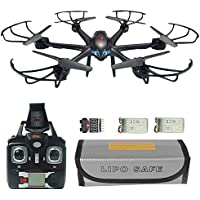 MJX X601H FPV RC Quadcopter Drone Big Bundle with Altitude-Hold Wi-Fi HD Live Camera RTF Helicopter, Extra: 7.4V 700mAh Battery, Explosionproof Battery Safe Bag, Voltage Checker Warning Buzzer Black