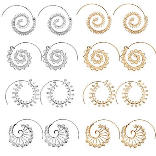 Jstyle Bohemian Tribal Earrings for Women Girls Spiral Hoop Earrings Vintage Fashion Earrings Set (C:Silver+Gold Tone(8Pcs)) - Vintage Pin Earrings