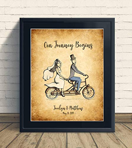 Custom Rustic Our Journey Begins Print Wedding Anniversary Gift, Personalized Keepsake Artwork includes Couples Names and Established Date, Gift for the Newlyweds and Bridal Shower