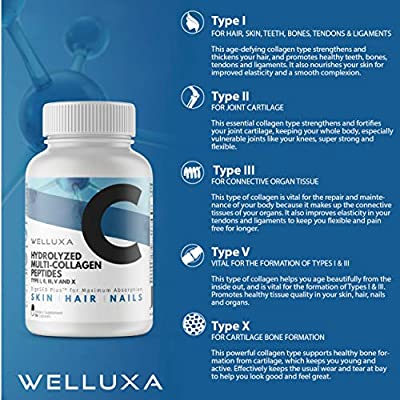 Multi Collagen Peptides Pills - Type I, II, III, V, X - Natural, Grass Fed, Bone Broth - Collagen Supplement - Clinically Effective Hydrolyzed Collagen Capsules for Women (90 Count)