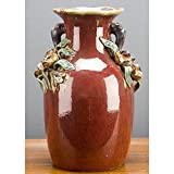 Home decor. Red Flower Handles Vase. Dimension: 9 x 9 x 13. Pattern: Red Majolica.
