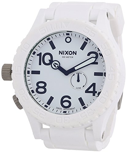 NIXON Quartz Stainless Steel and Silicone Watch, Color:White (Model: A236-100) (Nixon Mens Dive Watch)