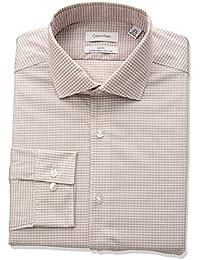 Men's Non Iron Stretch Slim Fit Check Point Collar Dress Shirt