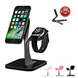 Apple Watch Stand & Cell Phone Holder,Universal 2 in 1 Aluminum iWatch & iPhone Mount,Nano Micro Suction Dock,Cradle,Desktop Station for Women,Girls,Men(Black)