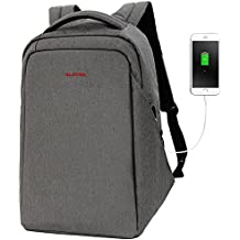 "SLOTRA Laptop Backpack For 15"" 15.6"" Anti Theft Computer Bag Checkpoint Friendly With USB Charging Port For Men Woman Work Business Travel School Bag (Dark Grey)"