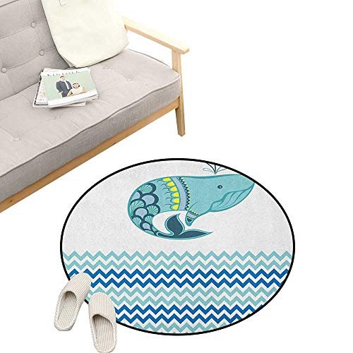 - Whale Round Rug ,Big Ornamental Tailed Design Whale with Zig Zag Pattern Ocean Wave Artwork Print, Flannel Microfiber Non-Slip Soft Absorbent 39
