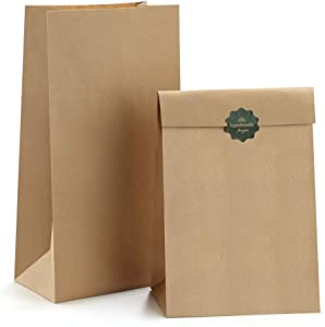 BagDream Brown Paper Lunch Bags Bread Bags 12lb 7x4.5x13.75 Inches 50Pcs Kraft Paper Bags, Paper Snack Bags Bread Bags, 100% Recycled Kraft Lunch Bags