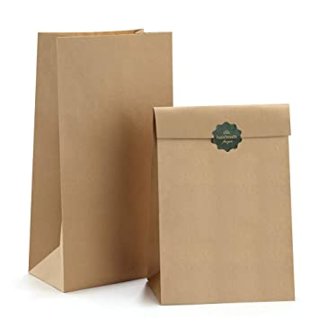 a7d6dd176711 BagDream Brown Paper Lunch Bags Bread Bags 12lb 7x4.5x13.75 Inches 50Pcs  Kraft Paper Bags,...