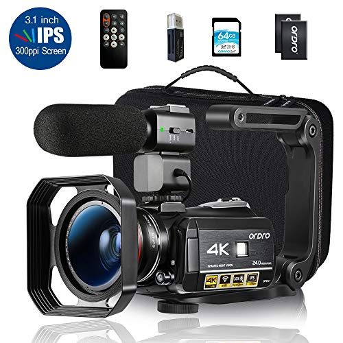 Ordro AC3 4K Camcorder HD Video Camera 1080P 60FPS Infrared Night Vision 30X Digital Zoom 3.1″ IPS Screen with Microphone, Wide Angle Lens, Lens Hood, 64GB SD Card, Handle,2 Batteries,Carrying Case
