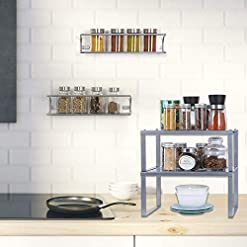 Kitchen NEX Stackable & Expandable Kitchen Shelf Organizer + NEX 2 Pack Wall Mount Spice Rack Organizer for Pantry Cabinet spice racks