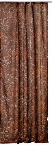Übergardine Vorhang Whitney Gardine blickdicht Blumen Kräuselband B/H ca. 140x245 cm #1296 (braun)