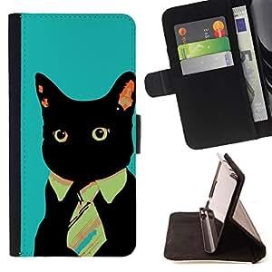 BullDog Case - FOR/Apple Iphone 5 / 5S / - / Business Tie Cat /- Monedero de cuero de la PU Llevar cubierta de la caja con el ID Credit Card Slots Flip funda de cuer