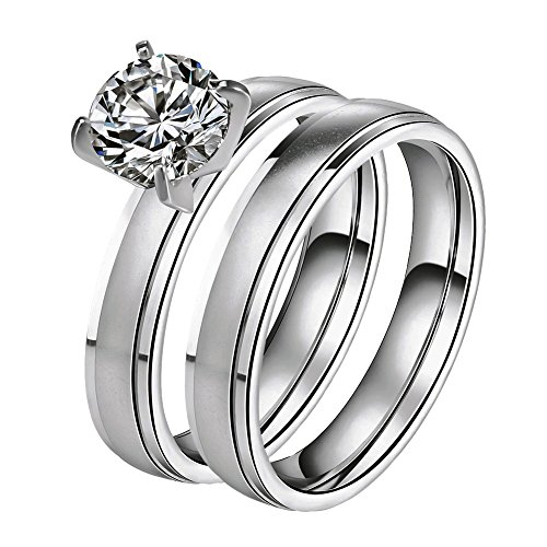 LILILEO Jewelry Stainless Steel Simple Frosted Zircon 2 Sets Ring For Women's Wedding Rings - Wholesale Stainless Steel Rings