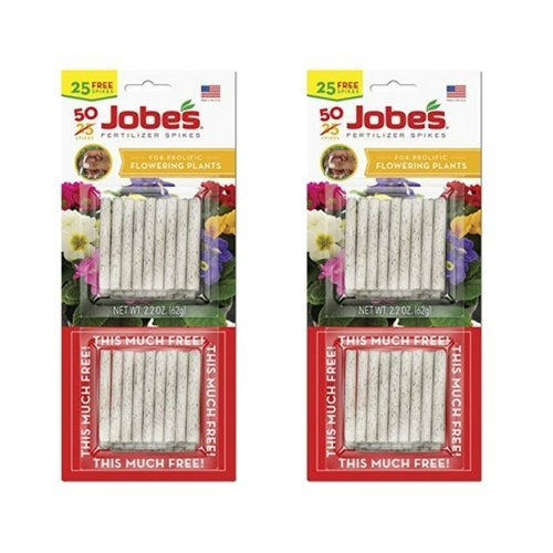 Jobe's Fertilizer Spikes for Flowering Plants, 10-10-4 Time Release Fertilizer, 50 Spikes per Package (2 Pack)