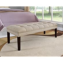 Pulaski Everly Upholstered Panel Tufted Bed Bench, Tan