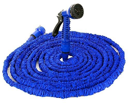 KingTop Flexibler Gartenschlauch Wasserschlauch mit Multifunktion Brause dehnbar 30m, 3 / 4 Zoll, blau