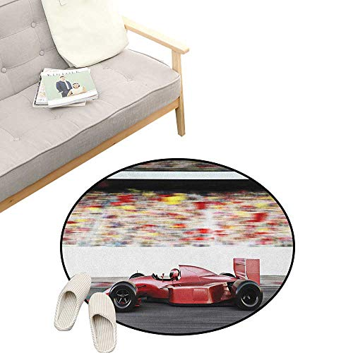 Side Areas Imprint (Cars Non-Slip Round Rug ,Sports Theme Red Race Car Side View on a Track Leading The Pack with Motion Blur, Washable Living Room Bedroom Kids 39