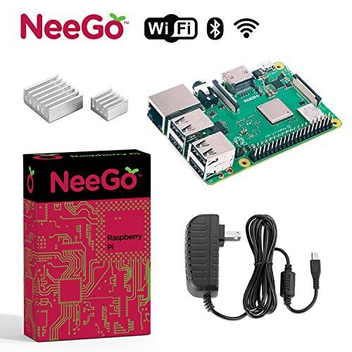 NeeGo Raspberry Pi 3 B+ (B Plus) Starter Kit – Pi 3 Model B Barebones Computer Motherboard with 64bit Quad Core CPU & 1GB RAM, 2.5A Power Supply & Heatsink 2-Pack by NeeGo