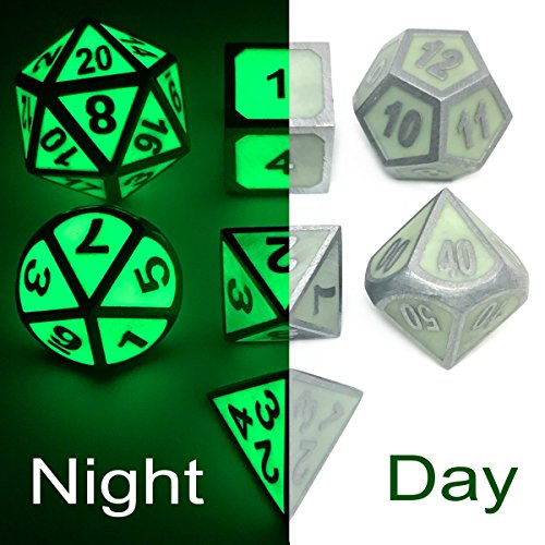 Super Bright Heavy Glow In The Dark Metal Dice Set of D4,D6,D8,D10,D12,D20 Assorted Polyhedral Shapes for DnD,RPG,MTG Dice Game - Heavy Dice