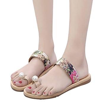 3d50e31baab2e Amazon.com: Jiayit Womens Flat Sandals Beads Pearl Beach Clip Toe ...