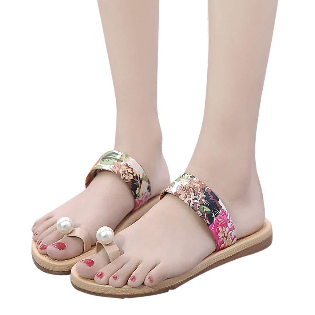 Garish Women's Fashion Flowers Print Casual Flat Lightweight Beach Sandal or Shower Shoe Pearl Sandals Toe Slippers Red