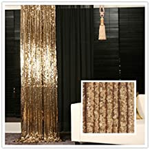TRLYC 5ft*6ft Gold Shimmer Sequin Fabric Photography Backdrop Sequin Curtain for Wedding/ Party