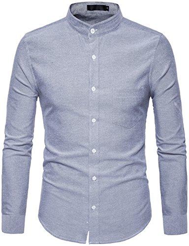 Button Down Collar Pocket Shirt (WHATLEES Mens Hipster Mandarin Collar Slim Fit Long Sleeve Casual Button Down Oxford Dress Shirt With Pocket T120 Dark Gray Large)