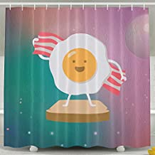 Egg And Bacon Beach Towel Shower Curtain Fabric Bathroom Shower Curtain Set,72x60 Inch