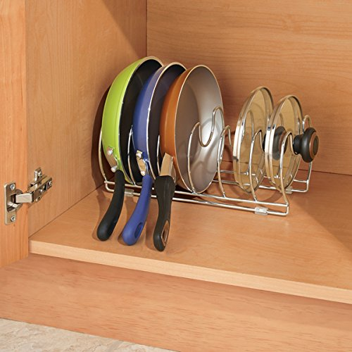 mDesign Pot and Pan Organizer Rack for Kitchen Cabinet, Pantry and Shelves - Organizer Holder with Six Slots for Skillets, Frying Pans, Lids, Vertical or Horizontal Placement - Steel Wire, Chrome