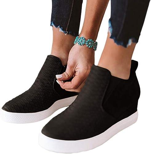 Women/'s Shoes Closed Toe Fashion Shoes Side Zipper Casual Wedge Sneakers