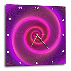 3dRose David Zydd - Colorful Abstract Designs - Neon Spiral - pink and purple neon light graphic - 15x15 Wall Clock (dpp_286772_3)