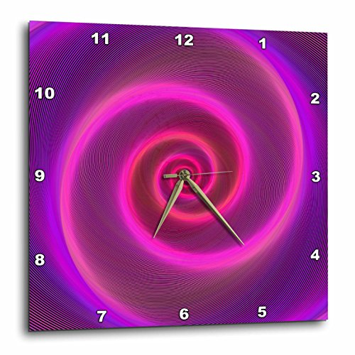 3dRose David Zydd - Colorful Abstract Designs - Neon Spiral - pink and purple neon light graphic - 10x10 Wall Clock (dpp_286772_1) -