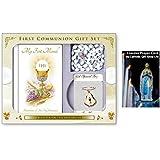 Mi primer libro misal-conjunto de regalo de primera Comunión de rosario con cáliz y broche + tarjeta de oración de Lourdes.