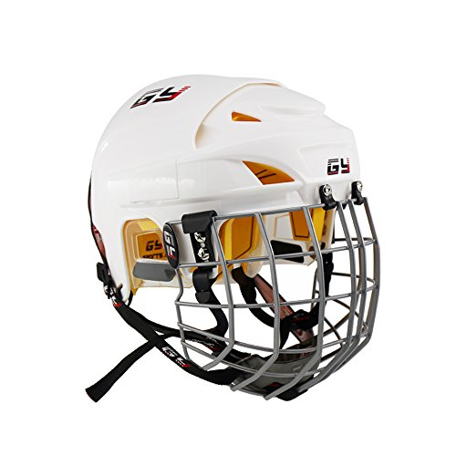 GY 2017 Improving Perfect Version Ice Hockey Helmet Steel Mask Equipment with Cage Combo Mix Size and White Color (White, L)