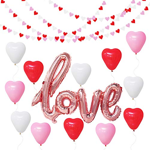 Valentines Decorations Kit - Love Balloons Rose Gold, Heart Garland, Heart Latex Balloons - Red White and Pink Party Decorations for Valentines Day, Bridal Shower, Engagement, Wedding