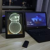 Ai-wa Night Table Lamps 3D Snowman LED Illusion Sculpture Lamp Bedroom Decorative Night Light 7 Color Change USB Touch + Remote Control Button Photo Frame LED Desk Table Light Lamp (Snowman)