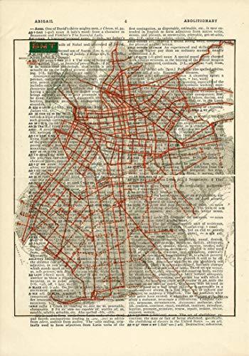 Brooklyn Trolley - Trolley Map Brooklyn Printed on Dictionary Paper