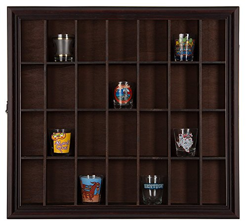 - Gallery Solutions 18x16 Shot Glass Display Case with Hinged Front,Walnut