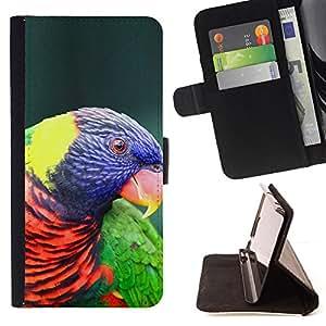 BullDog Case - FOR/Samsung Galaxy S5 V SM-G900 / - / parrot colorful ornithology purple bird /- Monedero de cuero de la PU Llevar cubierta de la caja con el ID Credit Card Slots Flip funda de cuer