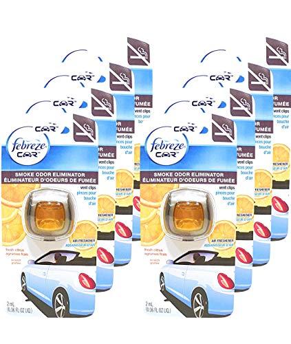 Febreze Car Vent Clips Smoke Odor Eliminator, Fresh Citrus Scent, (Pack of 8) (Car Febreze Vents)