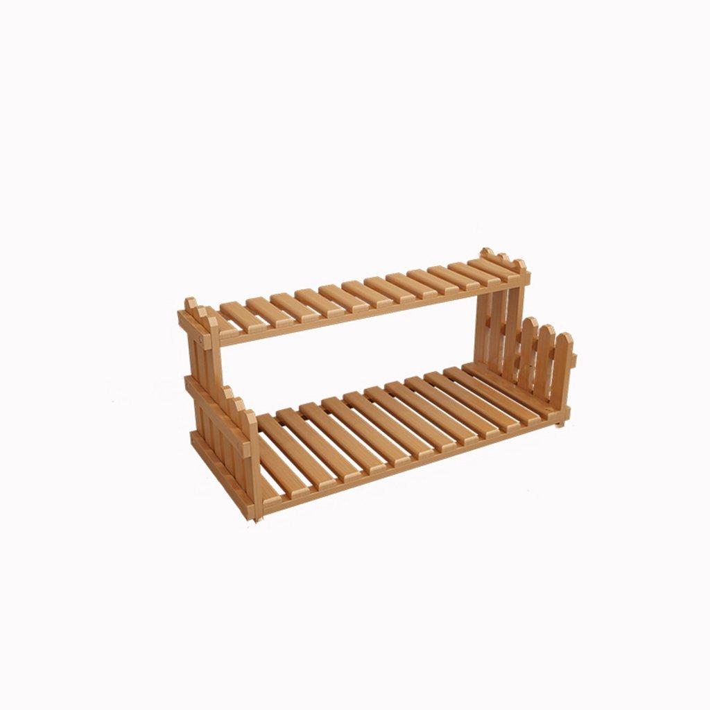 TYCGY Desktop Flower Racks , Office Windowsill Mini Multi-shelves , Solid Wood Bonsai Shelf 30cm H ( Color : Brown , Size : 302070cm )